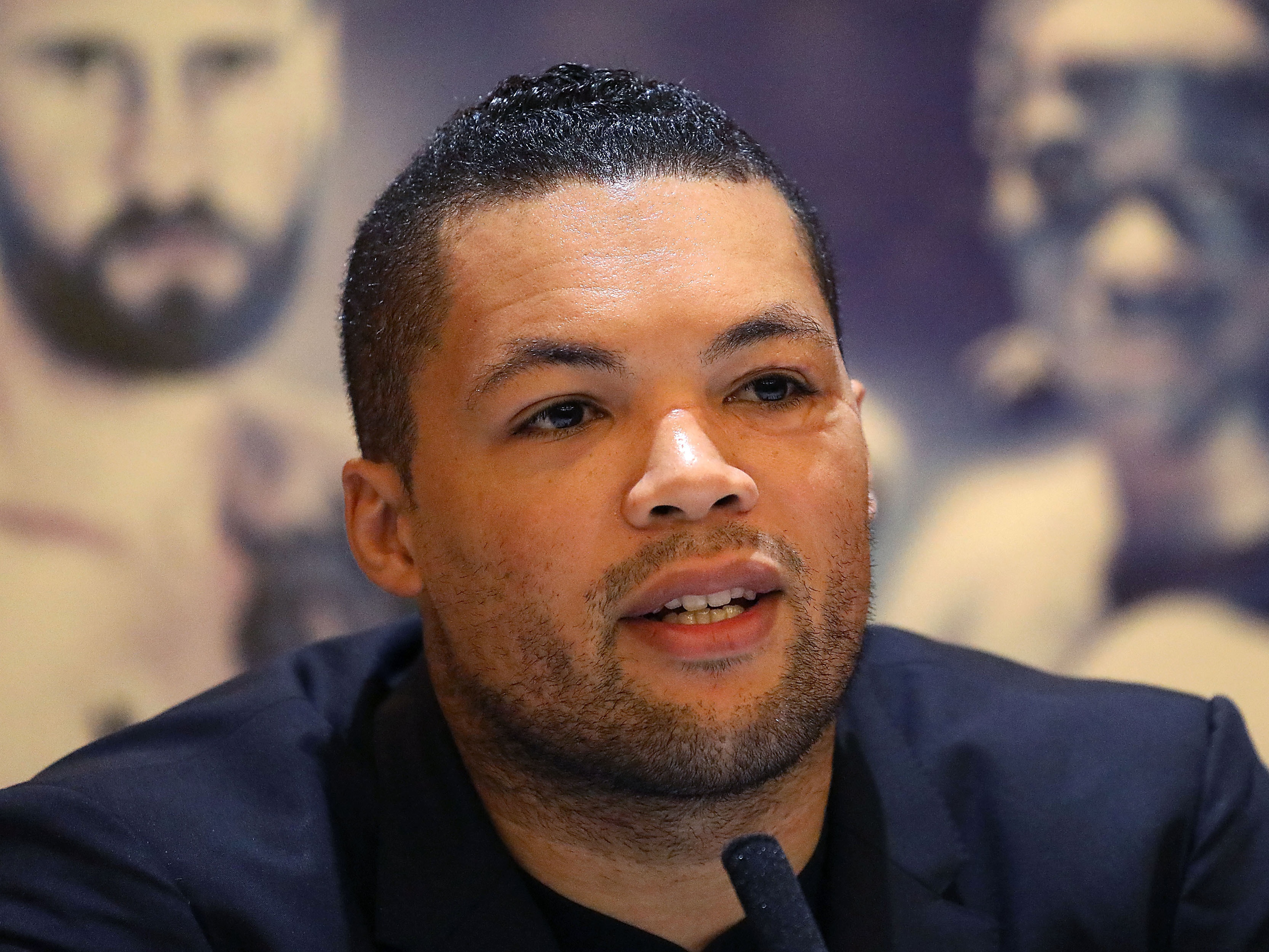 Joe Joyce speaking during the press conference at the Park Plaza Riverbank