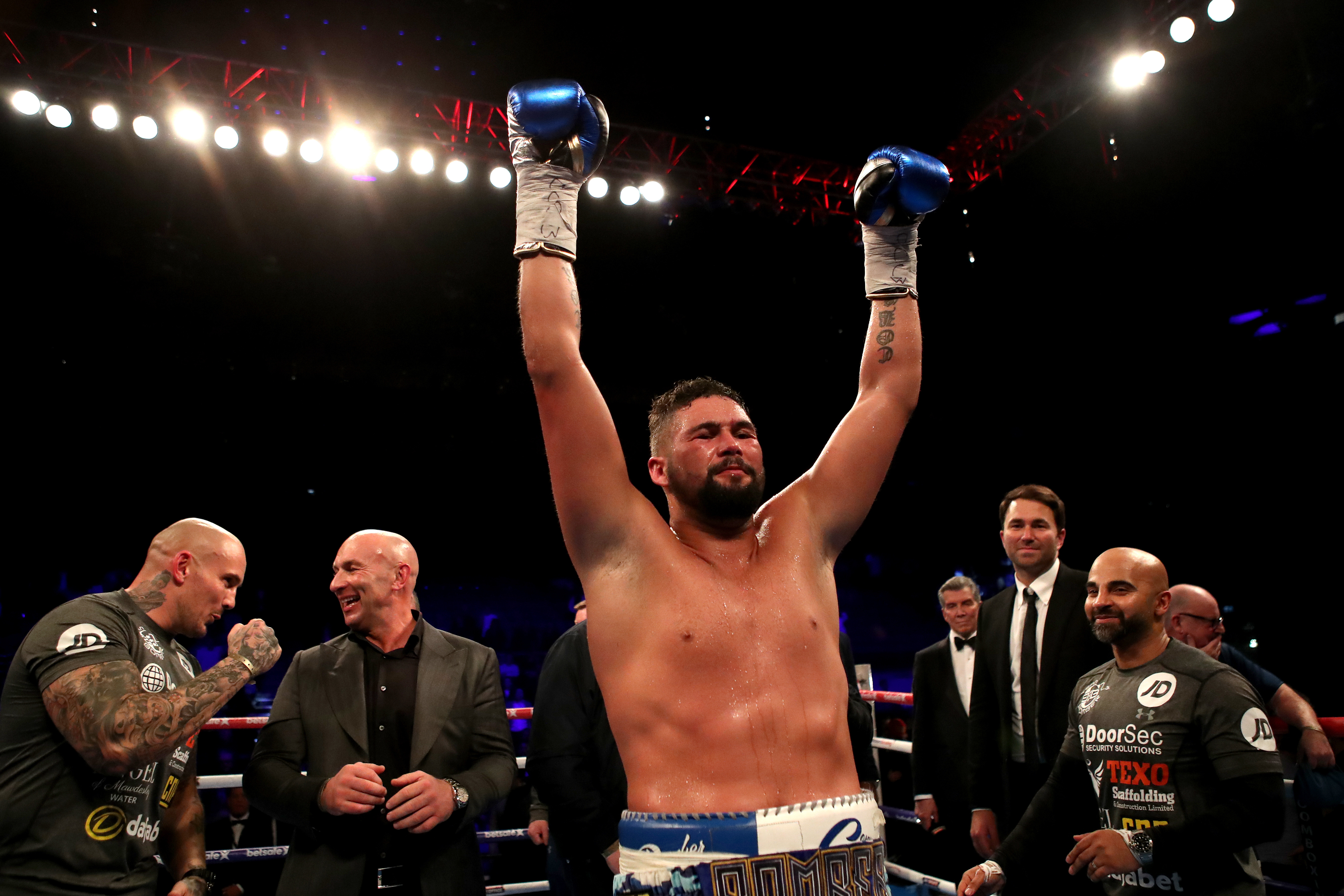 Tony Bellew celebrates his victory over David Haye