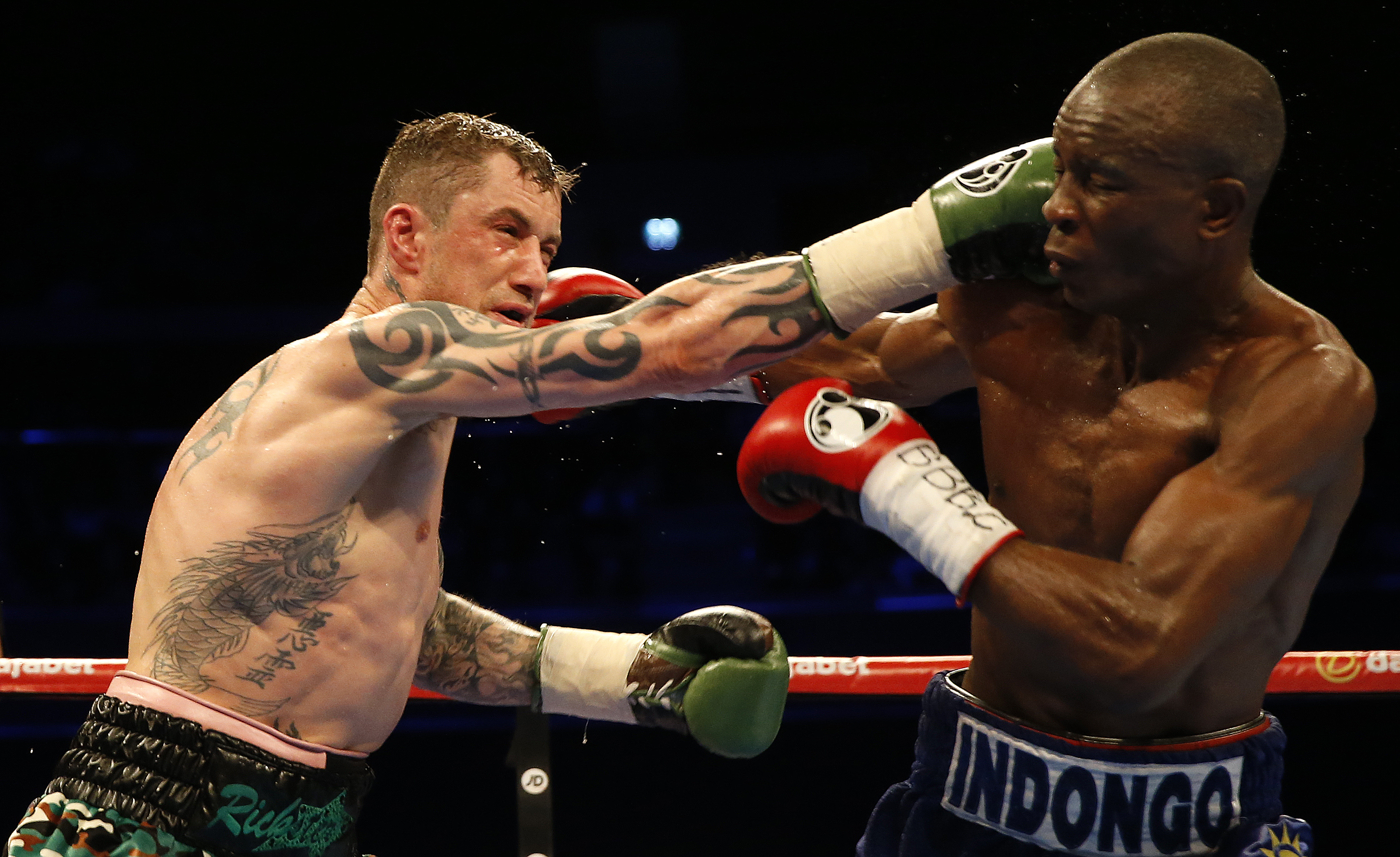 Ricky Burns and Julius Indongo during the WBA, IBF and IBO Super-lightweight World Championship bout
