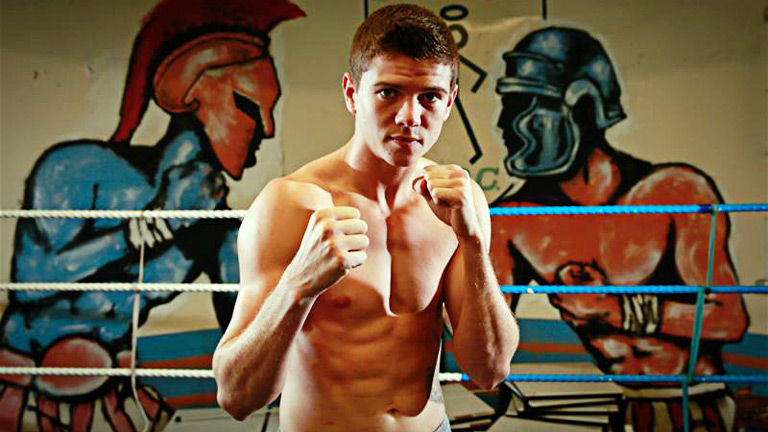 Luke Campbell poses during his media workout
