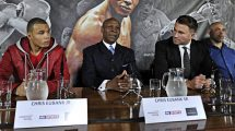 Chris Eubank Jnr, promoter Eddie Hearn (R) and Chris Eubank Snr (C) during the press conference