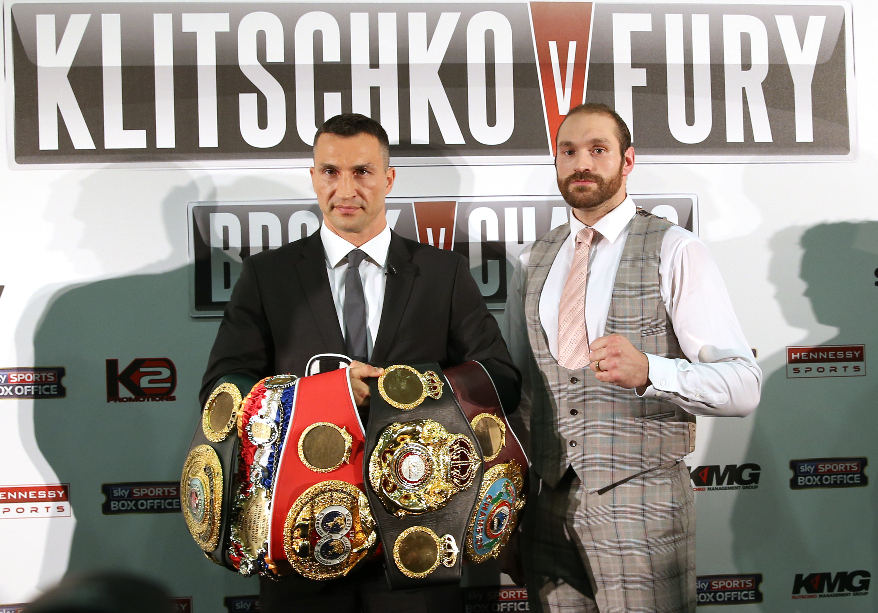 Wladimir Klitschko and Fury during a press conference before their 2015 bout (Simon Cooper/PA)