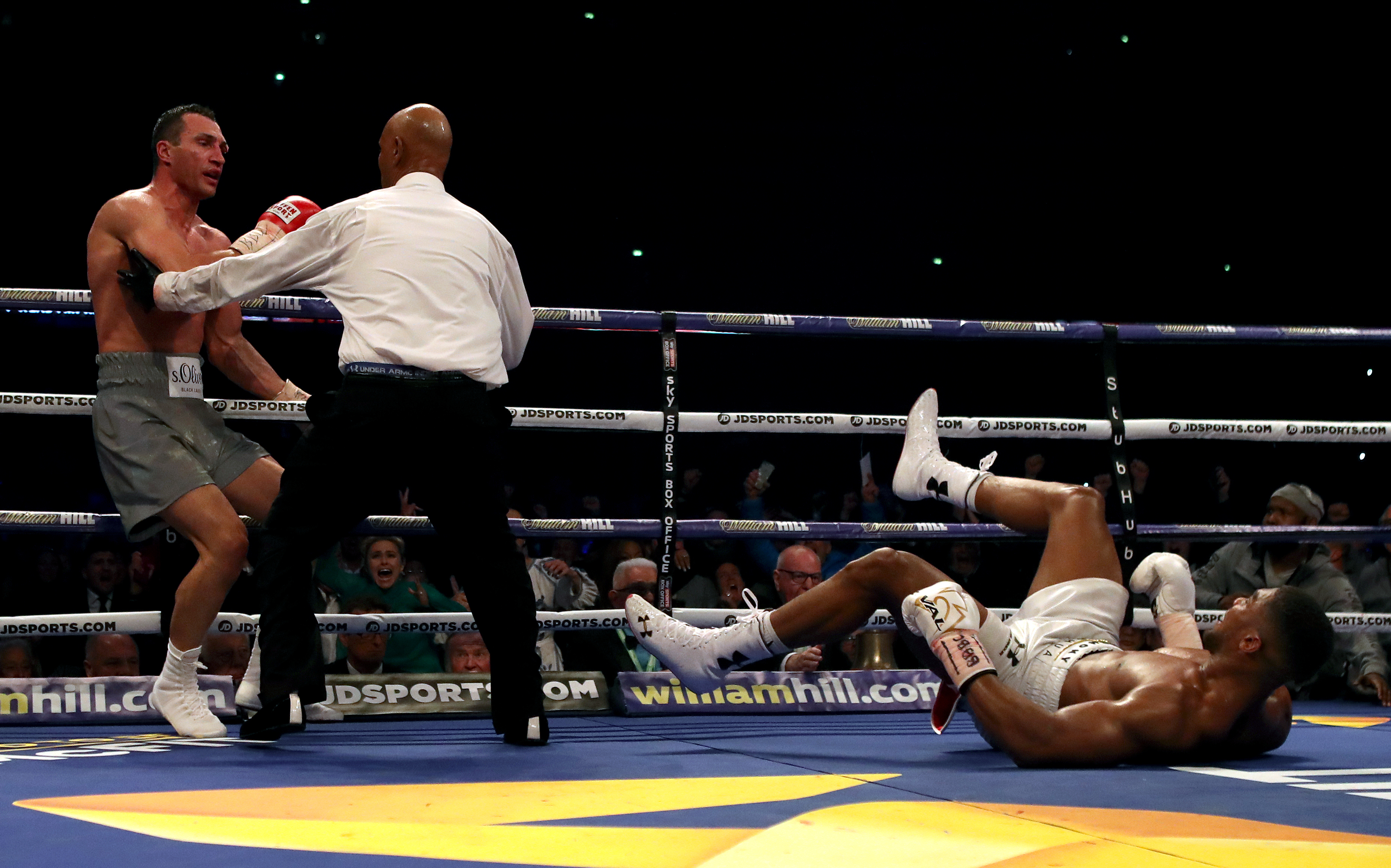 Wladimir Klitschko knocks Anthony Joshua down