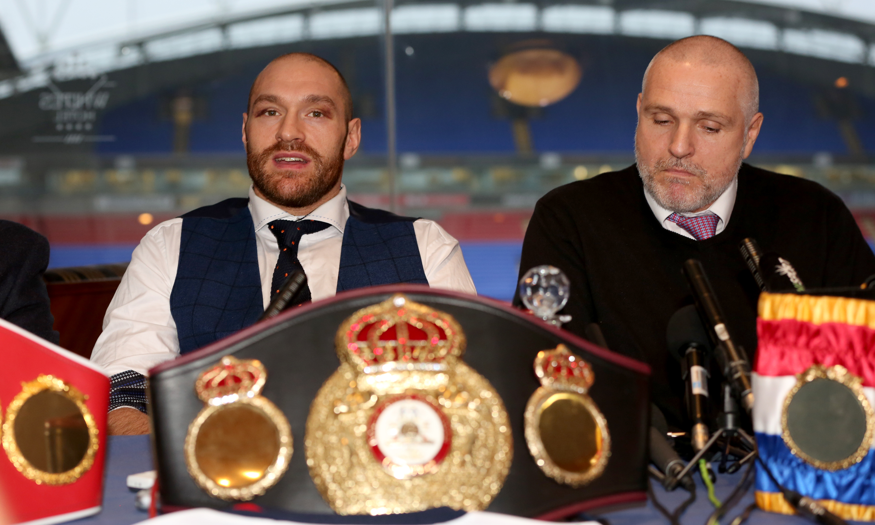 Tyson Fury, left, has not fought since his victory over Wladimir Klitschko
