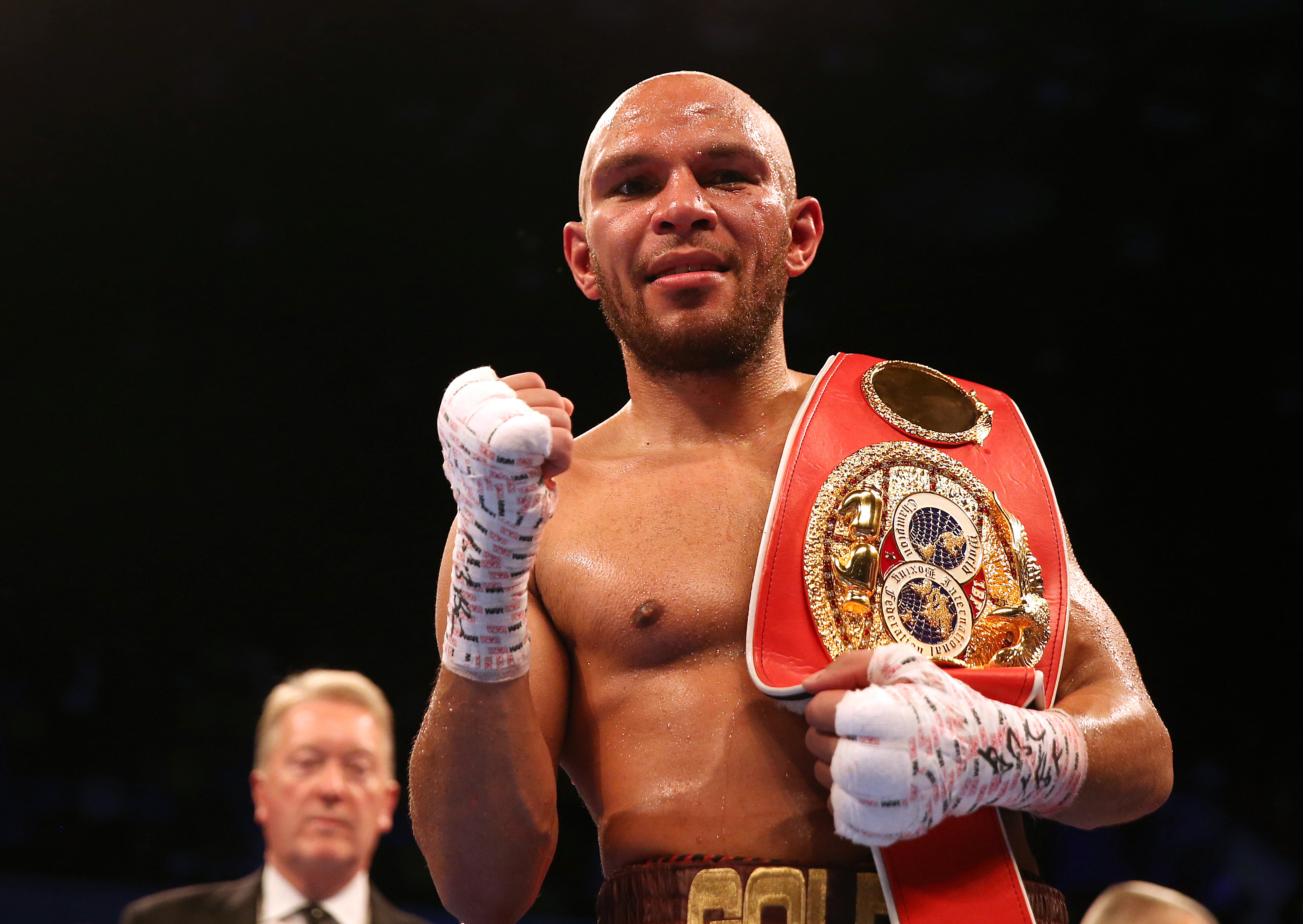 Caleb Truax celebrates beating James DeGale