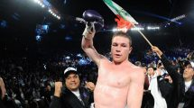 canelo celebrates beating cotto