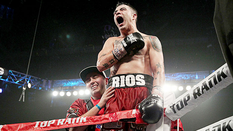 "Jan 24, 2015, Broomfield,Co. --   Brandon Rios of Oxnard,Ca.  stops  Denver's ""Mile High"" Mike Alvarado after the 3rd round in the 3rd fight of their trilogy.  , Saturday,  at the 1STBANK Center in Broomfield,Co---   Photo Credit : Chris Farina - Top Rank (no other credit allowed)  copyright 2015"