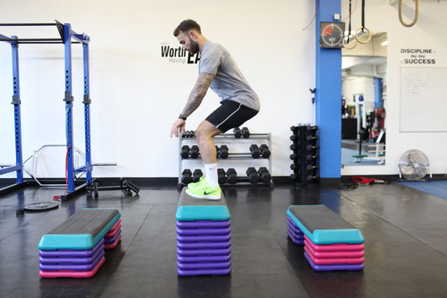 Cameron Goff performs depth jumps for lower-body power