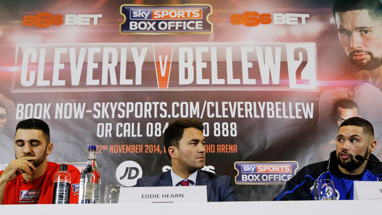 Eddie Hearn with Nathan Cleverly and Tony Bellew