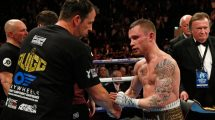 Joe Gallagher congratulates Carl Frampton