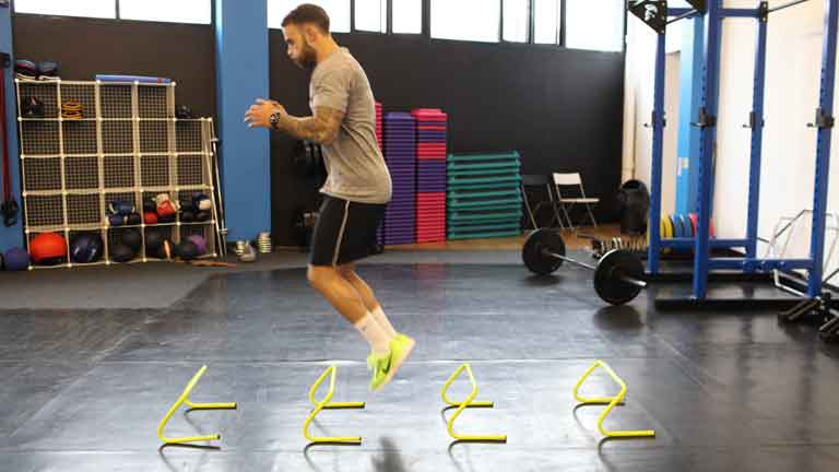 Power workout hurdle jumps