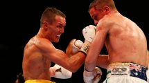 Josh Warrington lands an uppercut on Joel Brunker