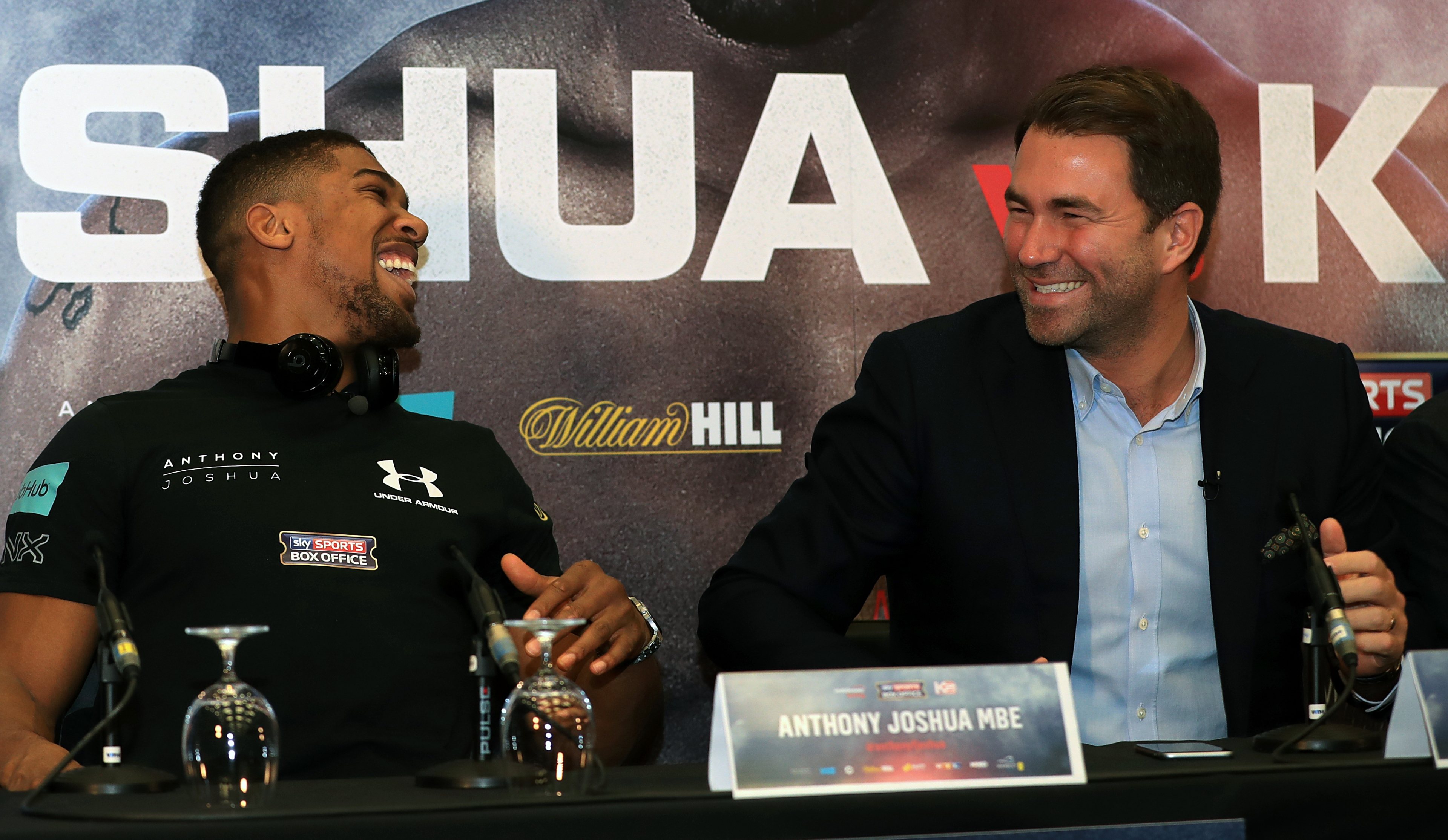 Anthony Joshua and promoter Eddie Hearn during the press conference at Wembley Stadium, London.